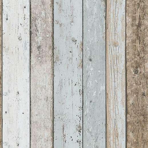 Deszka hatású tapéta barna kék színvilágban