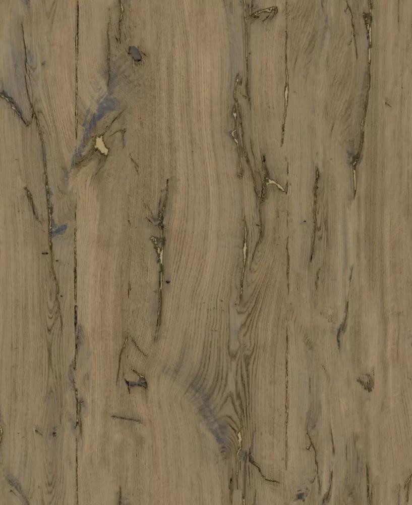 Deszka mintás dekor tapéta arany metáleffekt foltokkal