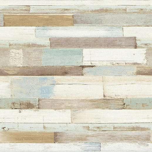 Deszka mintás dekor tapéta barna alap színnel kék festék foltos deszka mintával