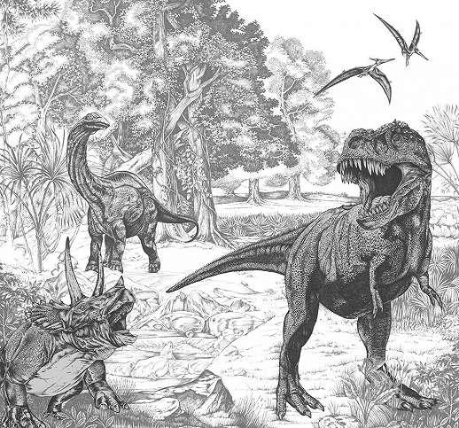 Dinoszaurusz mintás vlies fali poszter T-rex dinóval feket fehér szinvilágban