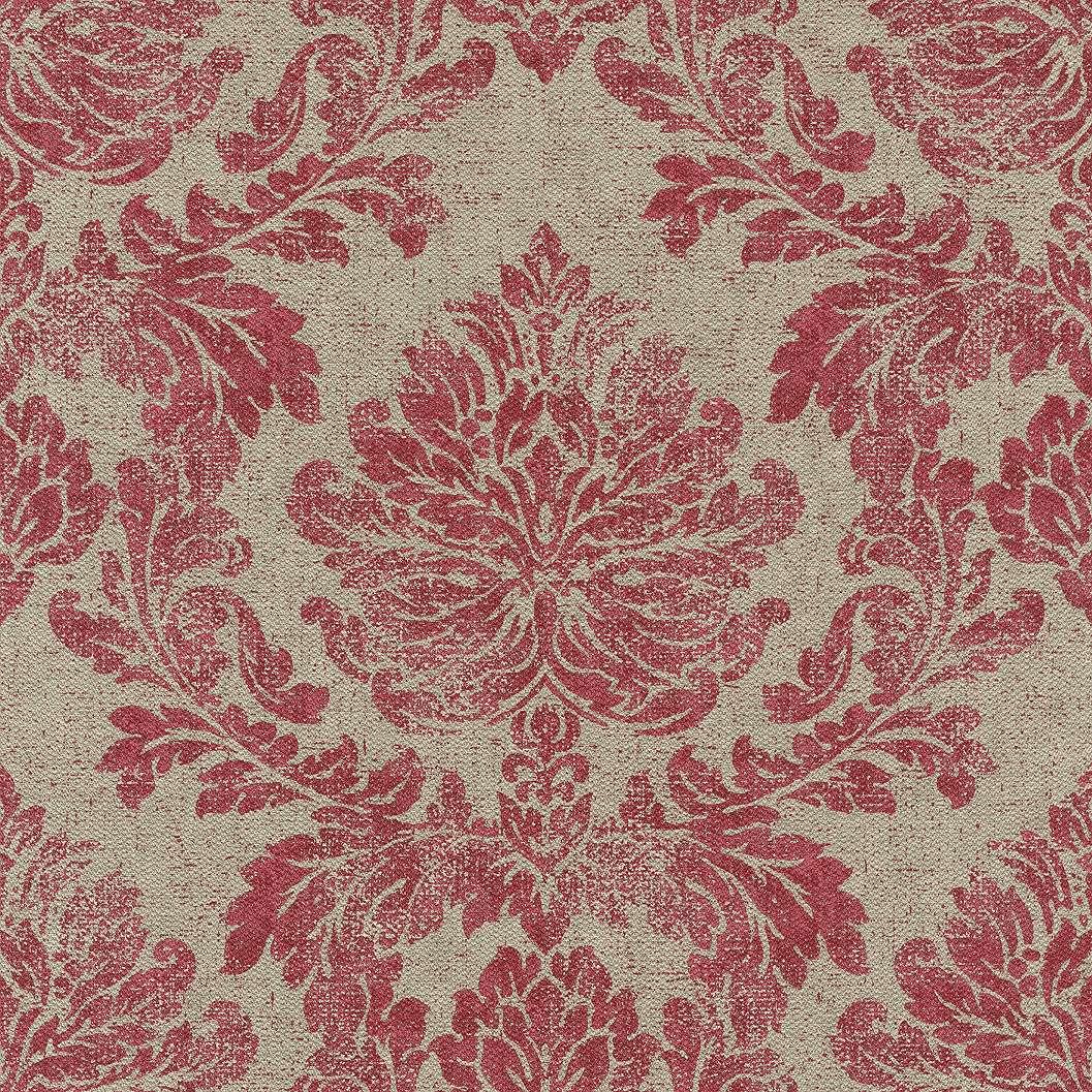 Drapp szövethatású alapon pirosas bordó klasszikus mintás tapéta