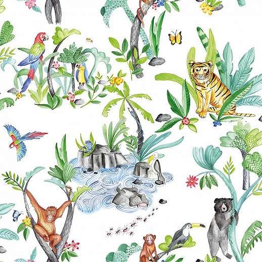 Dzsungel hangulatban állatmintás gyerek tapéta