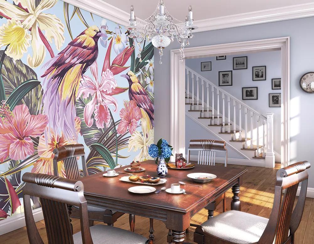 Egzotikus trópusi hangulatú modern madár és virágmintás fali poszter