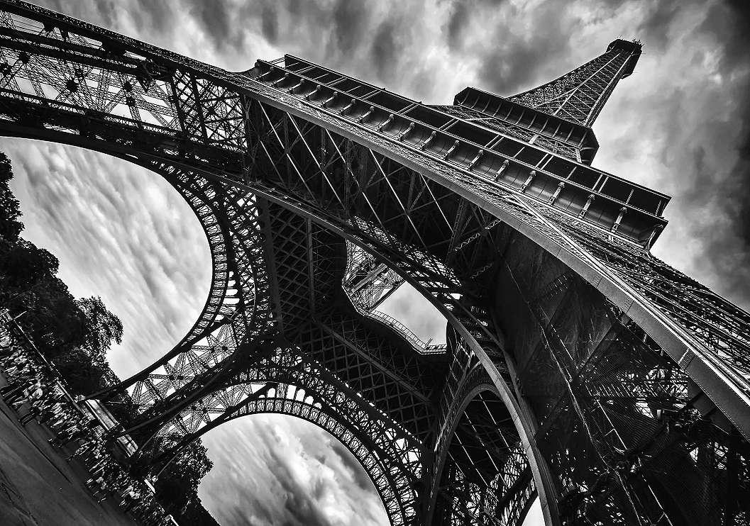 Eiffel torony Párizs fali poszter fekete fehér színben