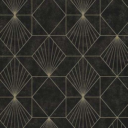 Eijffinger Geonature fekete geometriai mintás tapéta