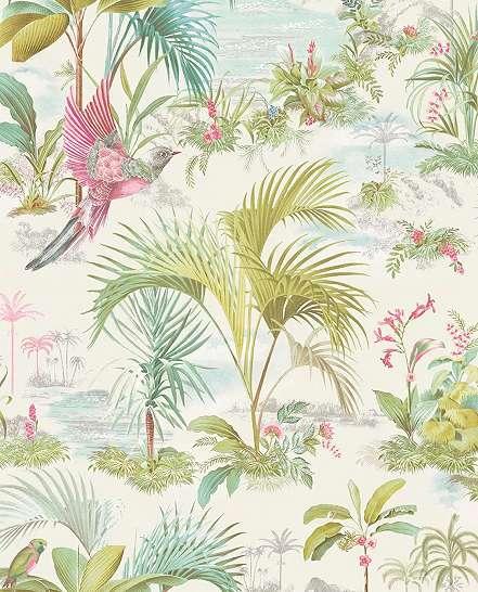Eijffinger luxus tapéta trópus hangulatú pálma és madár mintával