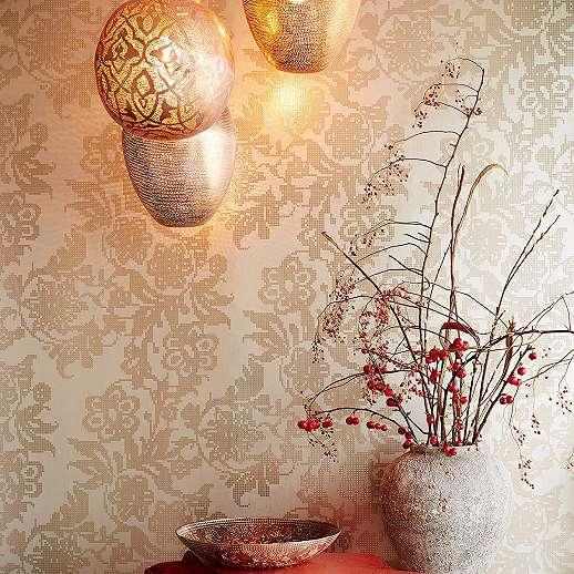 Eijjfinger Yasmin szürke-arany színű virágmintás absztrakt stílusú tapéta
