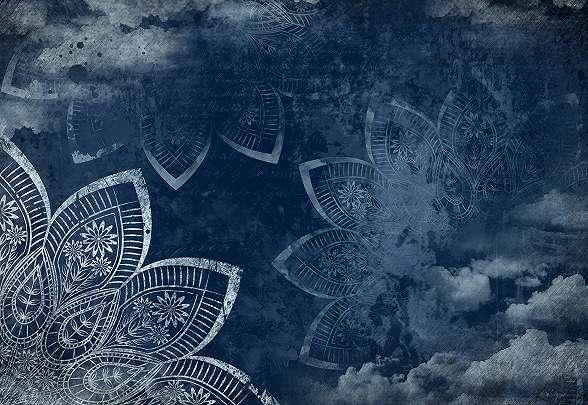 Éjkék színű mandala mintás monder fali poszter