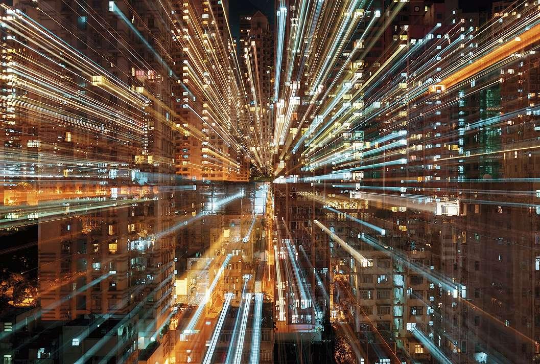 Éjszakai városi fények fali poszter