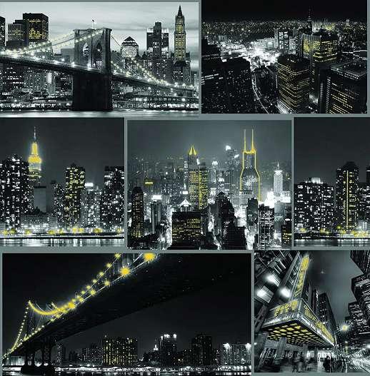 Éjszakai városkép mintás tapéta fekete arany színvilágban