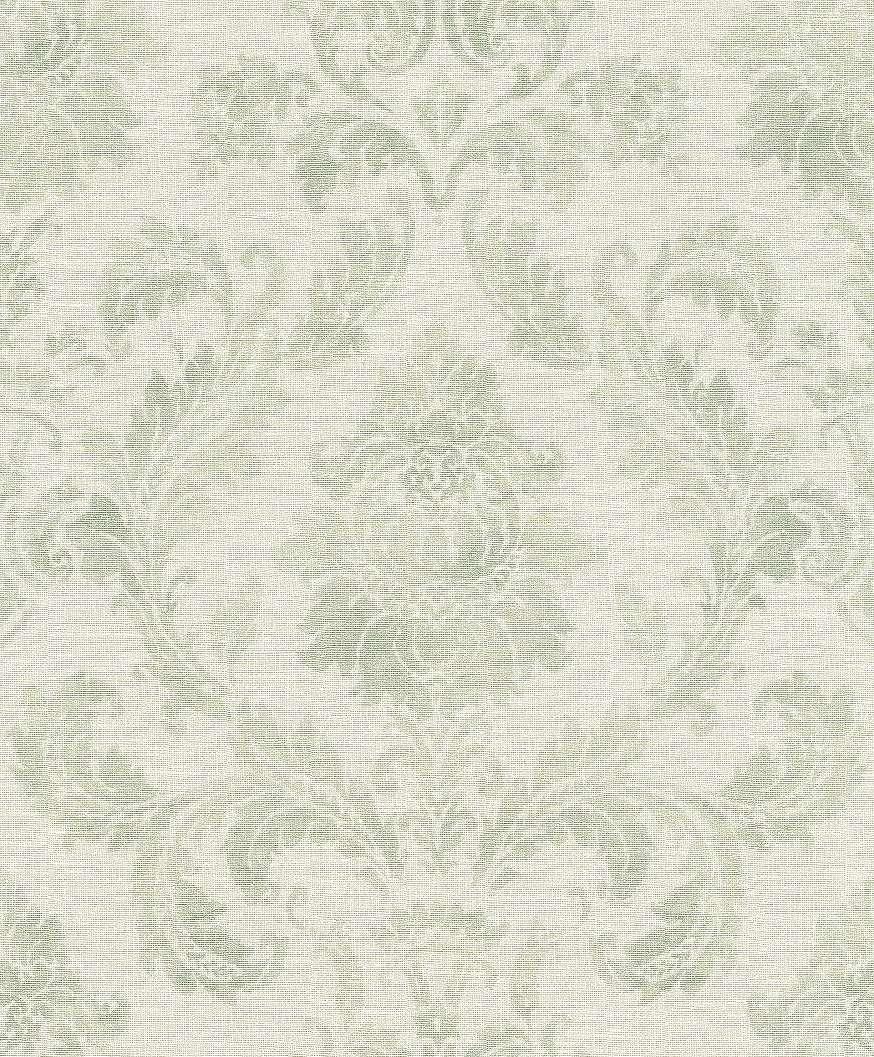 Elegáns barokk mintás vlies tapéta harmonizáló krém, zöld színekkel