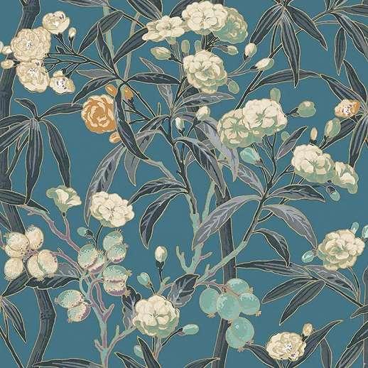 Elegáns virágmintás vlies prémium tapéta kék színben