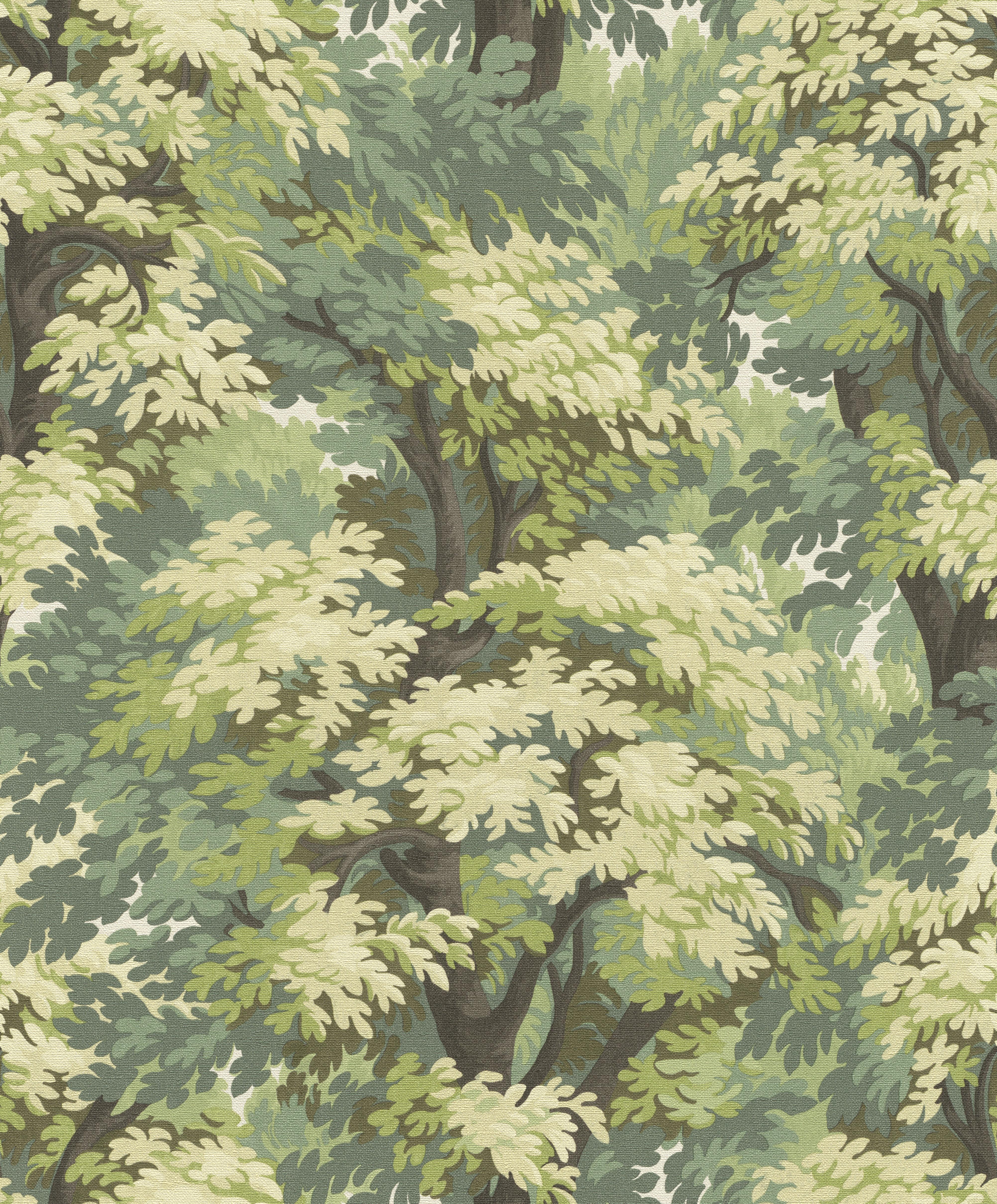 Erdő mitás tapéta zöld színekkel