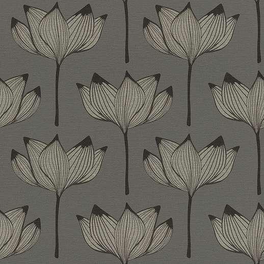Ezüst, fekete skandináv stílusú virágmintás tapéta