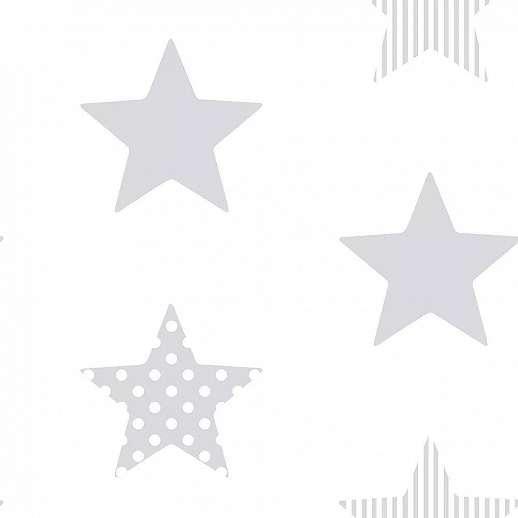 Ezüst fényes felületű csillag mintás vlies gyerektapéta