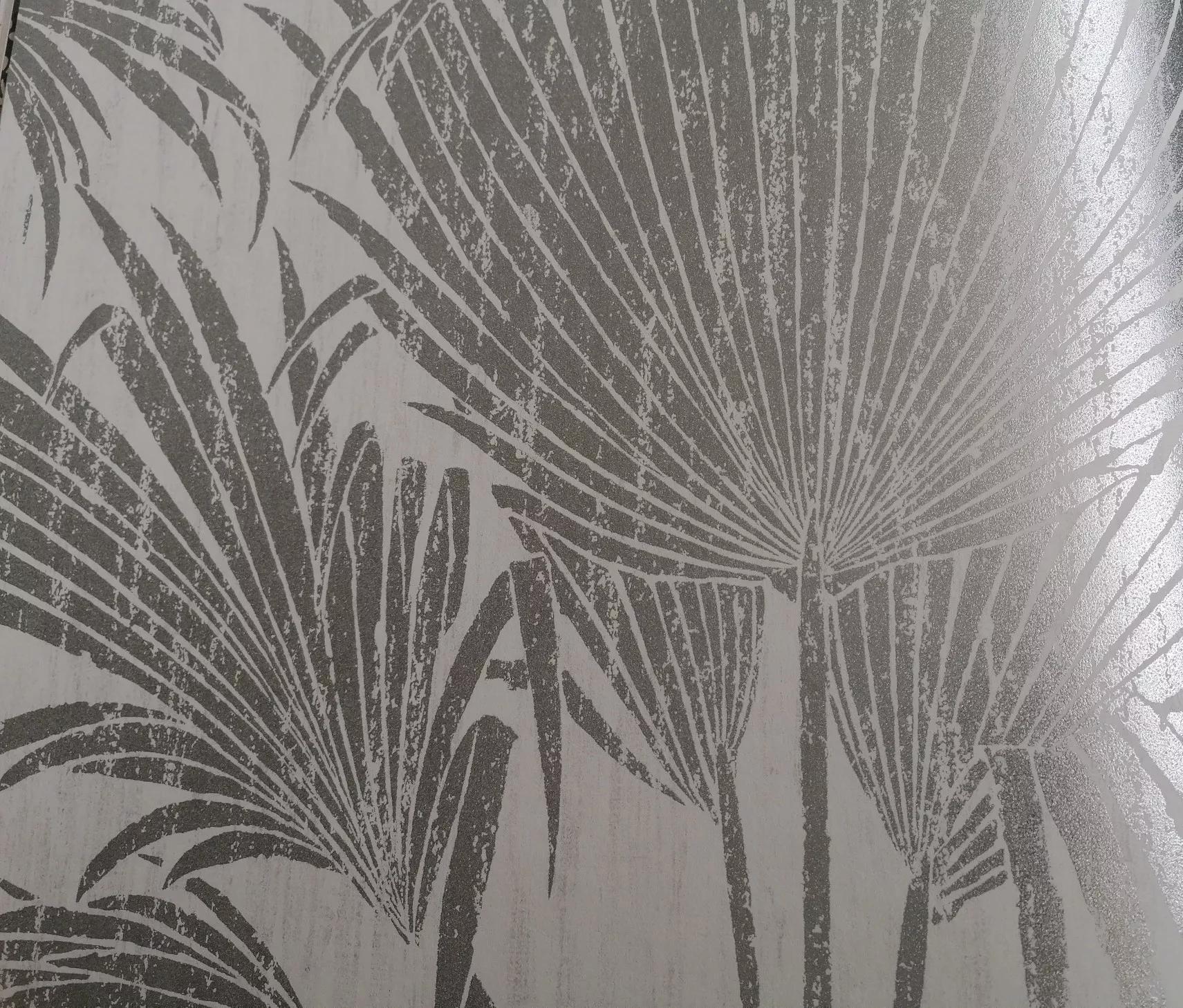 Ezüst metál hatású trópusú pálmalevél mintás luxus tapéta