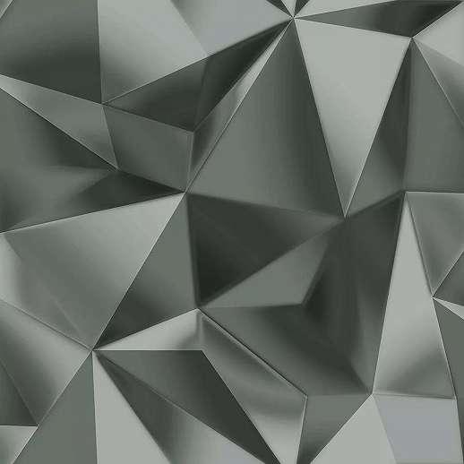 Ezüst színű tükröződő felületű geometriai mintás tapéta