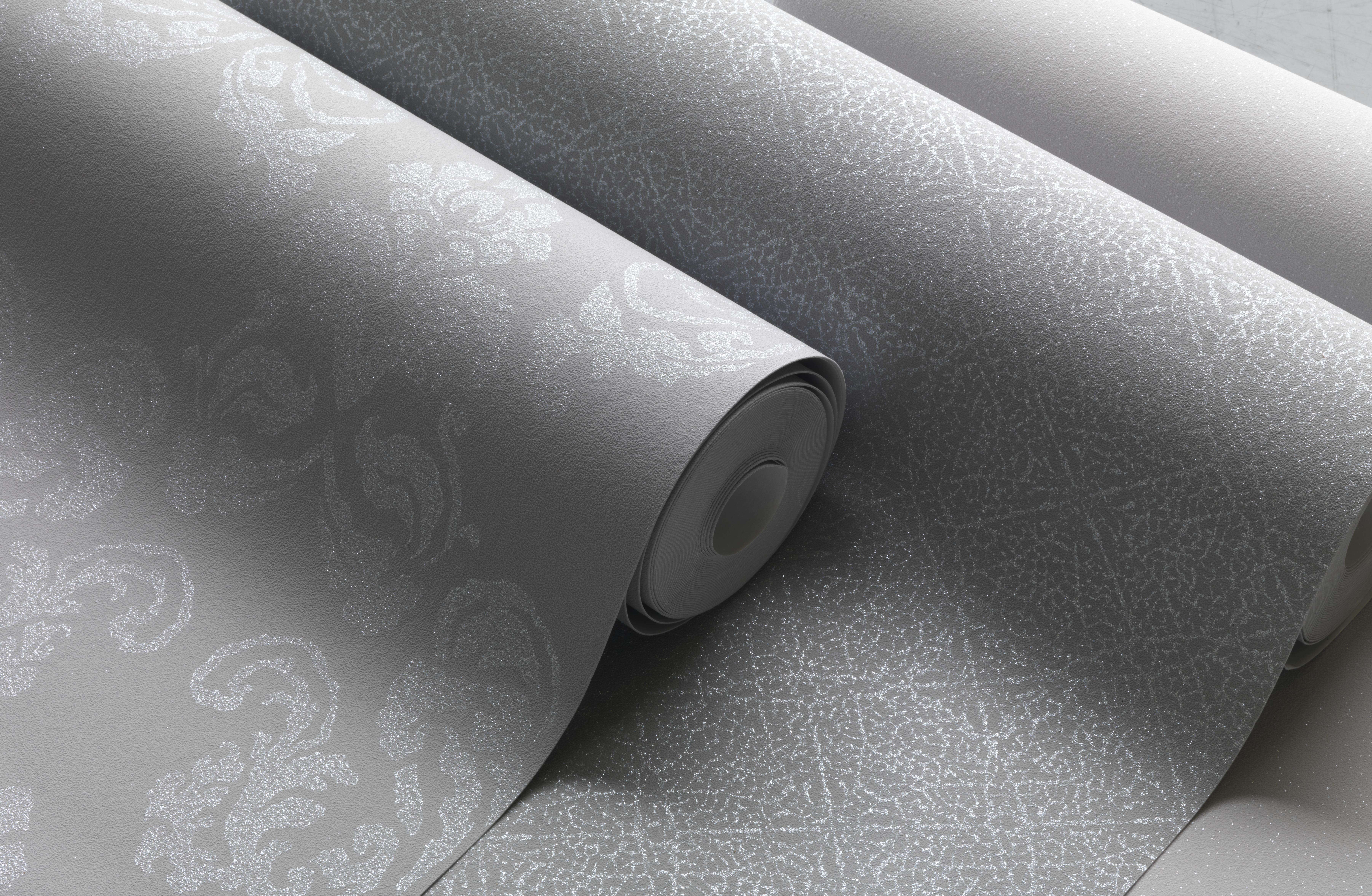 Ezüst szürke barokk mintás tapéta  halvány mintázattal