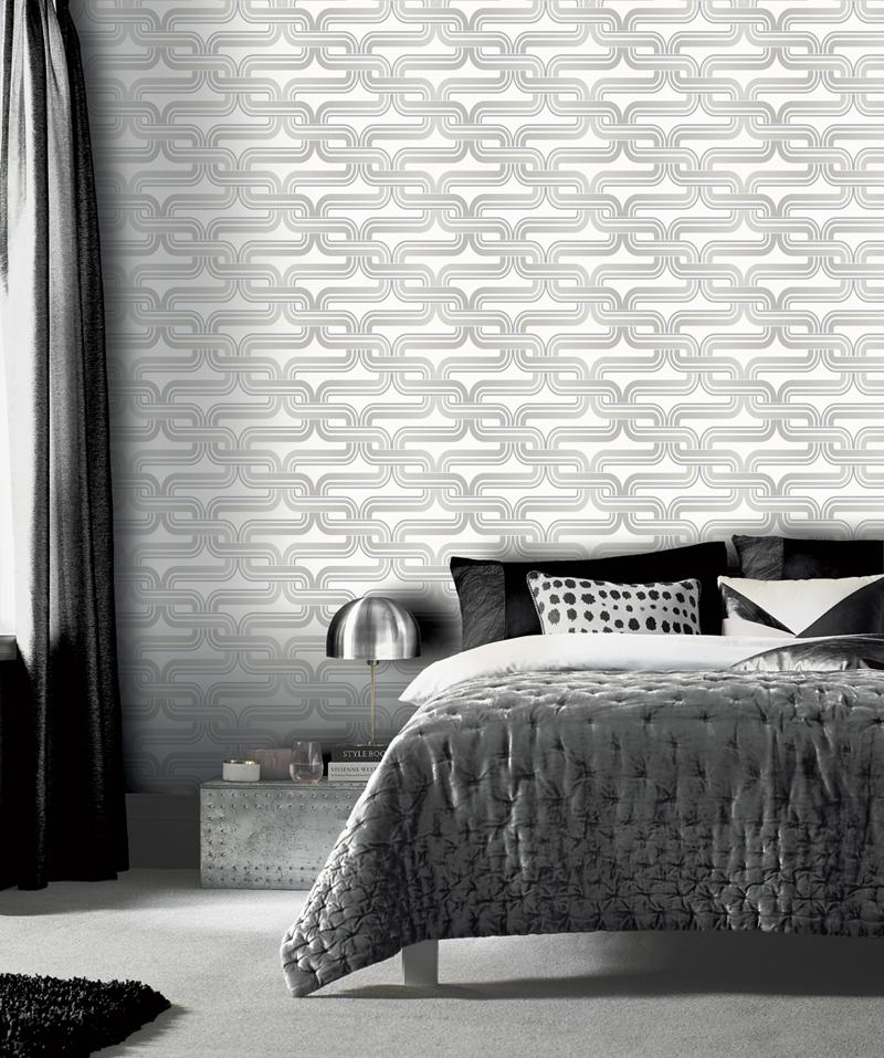 Ezüst, szürke retro geometriai mintás tapéta