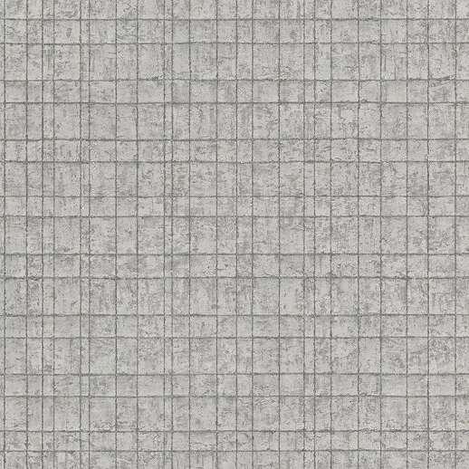 Ezüstszürke kockás mintás tapéta fényes ezüst csíkos mintával