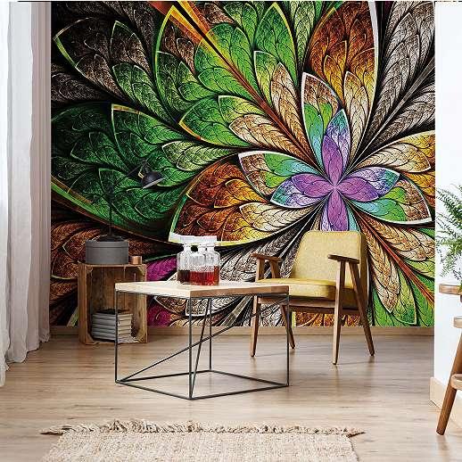 Fali poszter absztrakt színes virág mintával
