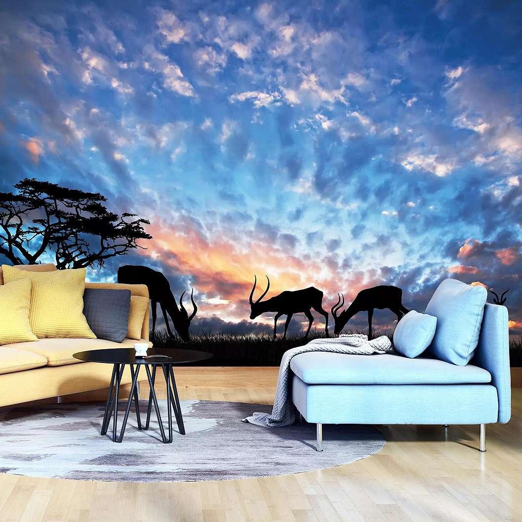 Fali poszter afrikai szavanna legelő gazellákkal