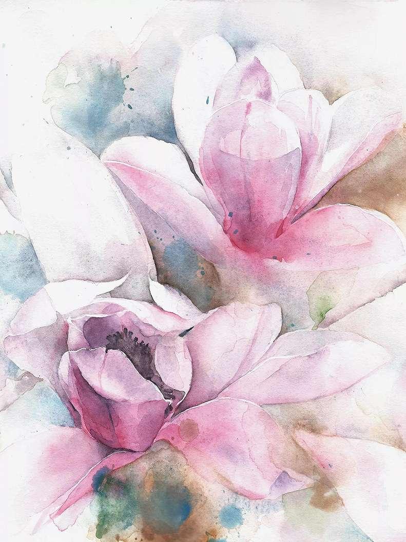 Fali poszter akvarell hatású virág mintával