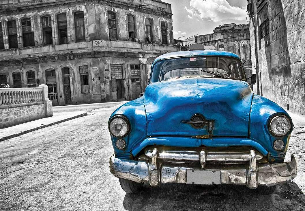Fali poszter antik kubai autóval kék színben