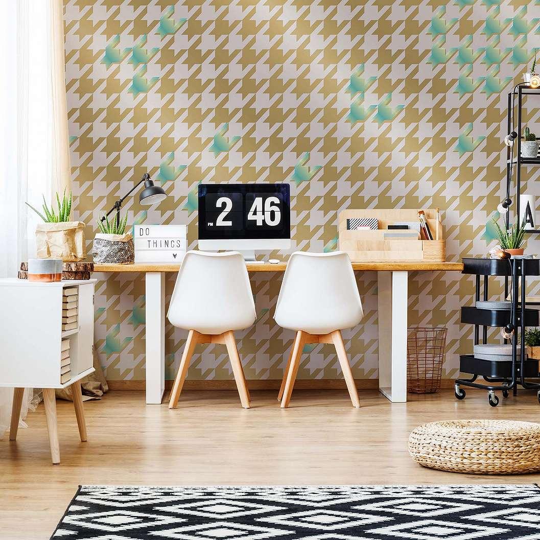 Fali poszter arany, zöld modern geometria mintával