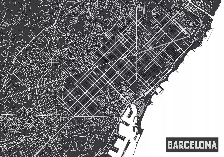 Fali poszter, Barcelona térképe fekete-fehér színekkel