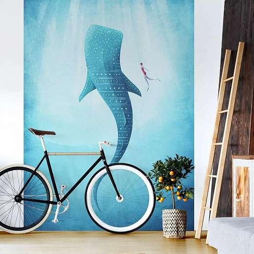 Fali poszter cápa mintával akvarell stílusban
