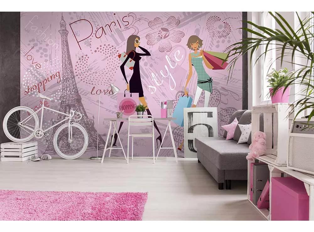 Fali poszter csajos Párizs mintával a divet szerelmeseinek