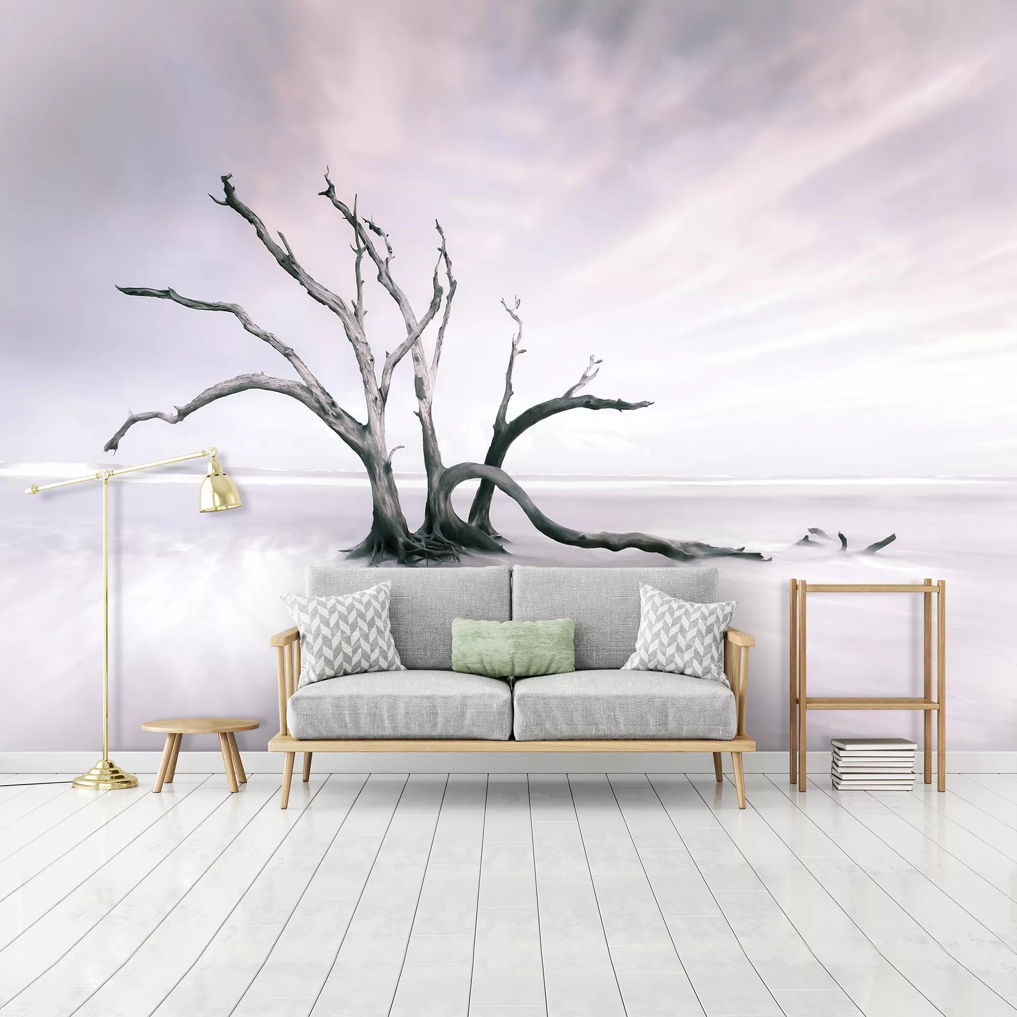 Fali poszter egy kiszáradt fa fotójával minimalista hangulatban