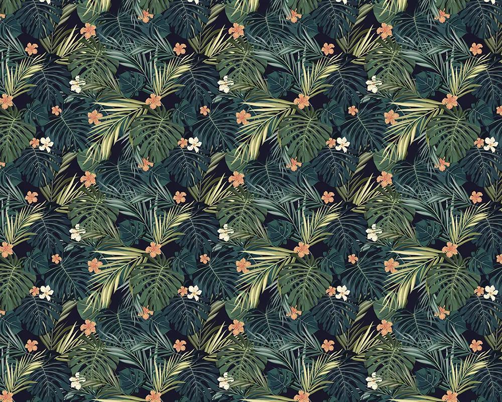 Fali poszter egzotikus pálmalevél és virág mintával