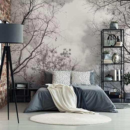 Fali poszter erdei táj mintával fekete fehér színvilágban