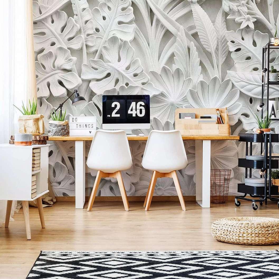 Fali poszter fehér faragott virág mintával