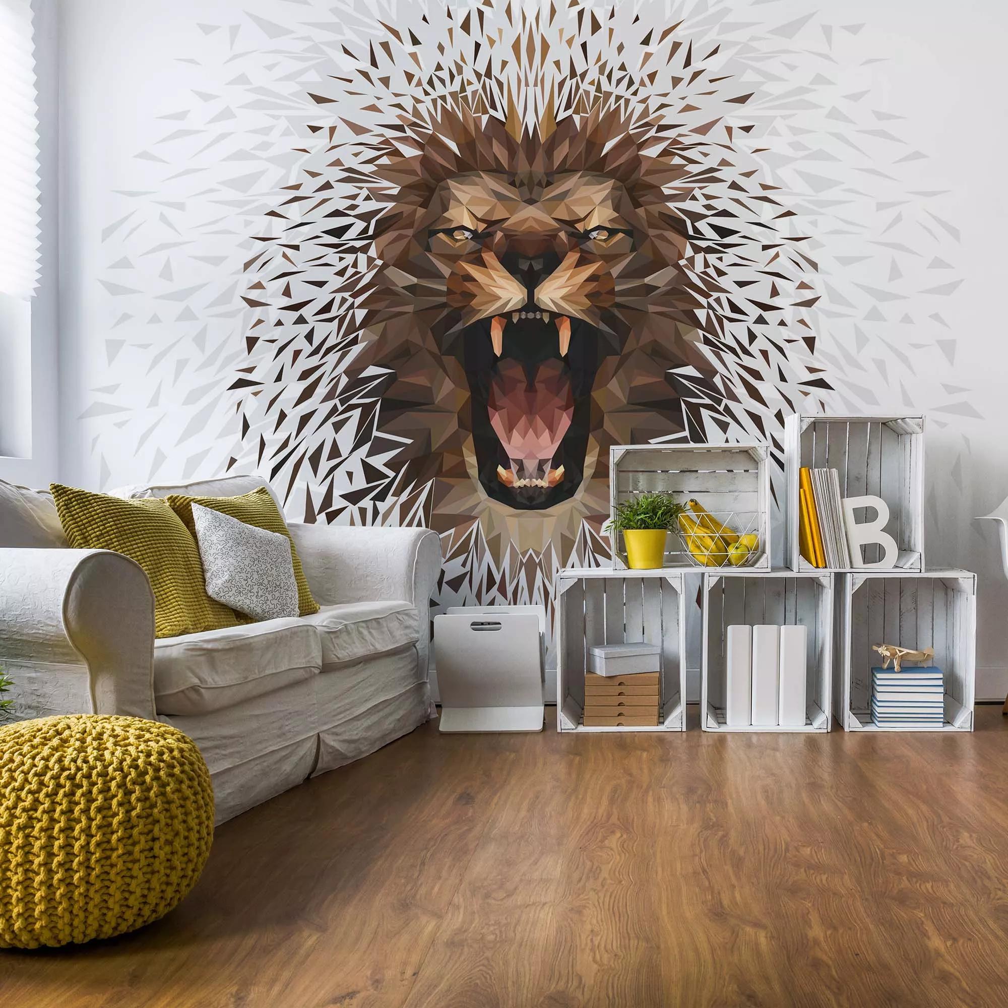 Fali poszter fehér háttérrel sokszögmintás modern oroszlán mintával
