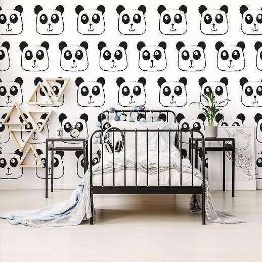 Fali poszter feket fehér panda mintával gyerekszobába