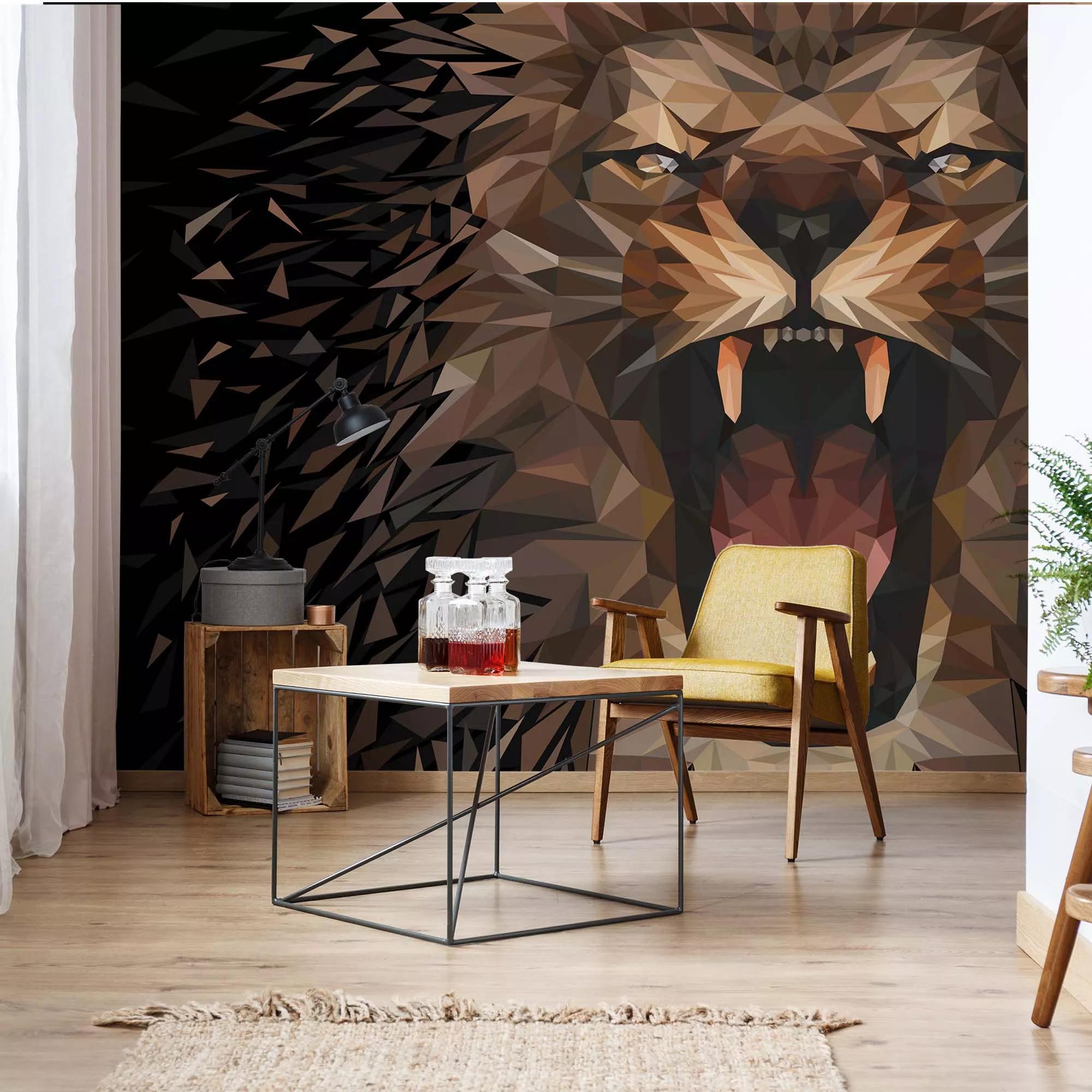 Fali poszter fekete alapon sokszög mintás modern oroszlán mintával