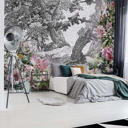 Fali poszter fekete fehér rajzolt tájképen színes virág mintákkal