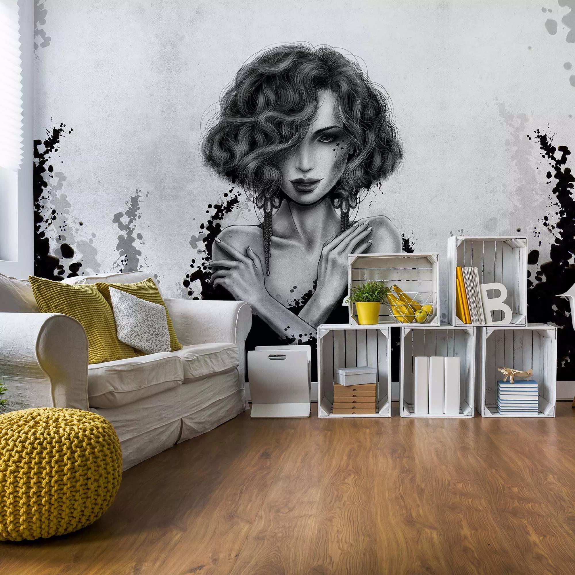 Fali poszter fekete fehér színvilágban női arc mintával