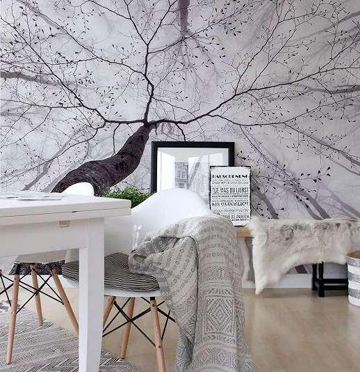 Fali poszter fekete fehér színvilágban télies erdei táj mintával