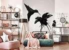 Fali poszter fekete kolibri mintával minimalista stílusban