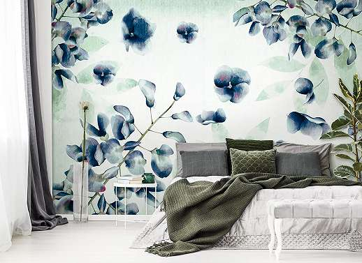 Fali poszter, fotótapéta akvarell hatású virágmintával kék színvilágban