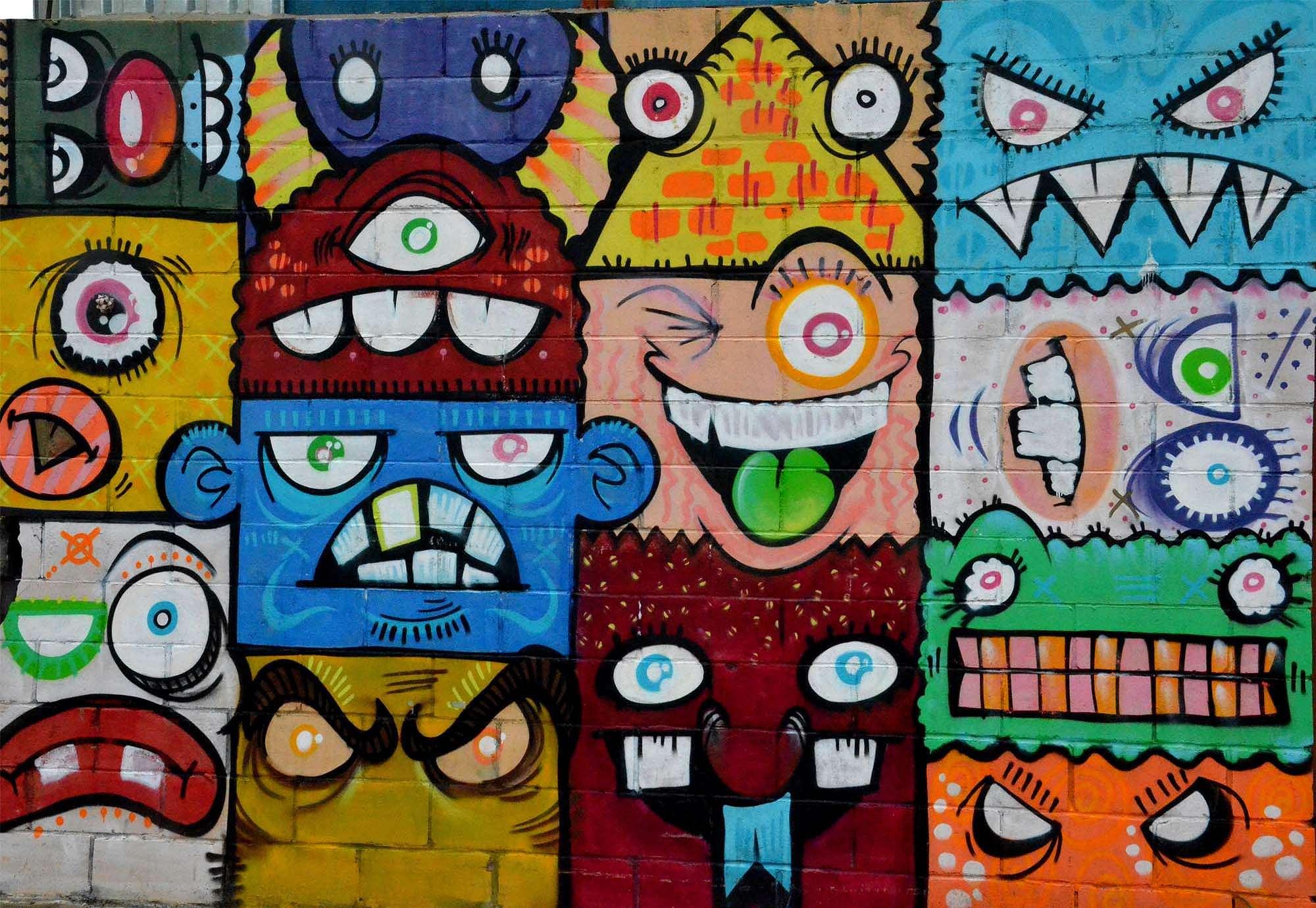 Fali poszter graffiti stílusban mókás figurákkal