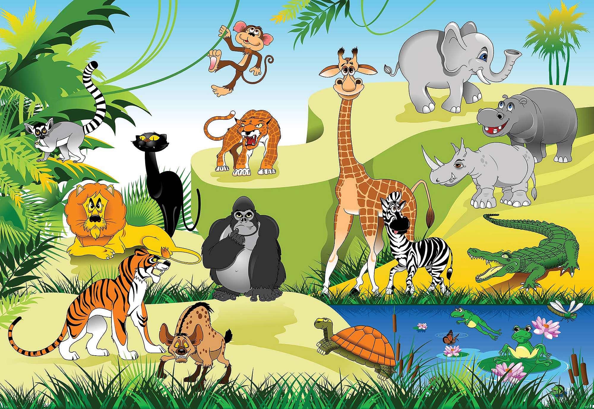 Fali poszter gyerekeknek kedves afrikai állatokkal