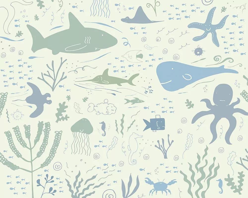 Fali poszter gyerekszobába a vízalatti élővilág állataival