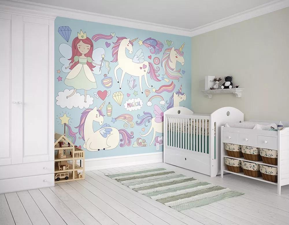 Fali poszter gyerekszobába rajzolt hercegnő és unikornis mintával