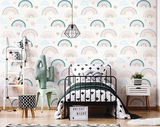 Fali poszter gyerekszobába rajzolt szivárvány mintákkal
