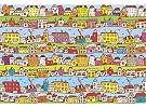 Fali poszter gyerekszobába színes házikós mintával